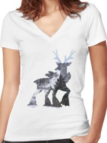 Sawsbuck (winter) used natural gift Women's Fitted V-Neck T-Shirt