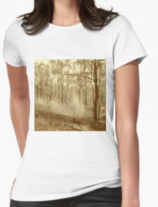 Bushfire at sunset in sepia tone Womens Fitted T-Shirt