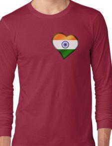 Indian Flag - India - Heart Long Sleeve T-Shirt