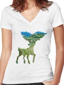 Sawsbuck (summer) used solar beam Women's Fitted V-Neck T-Shirt