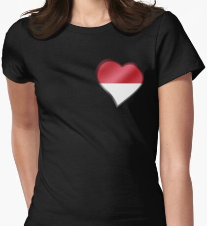 Indonesian Flag - Indonesia - Heart Womens Fitted T-Shirt