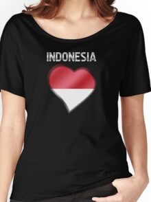 Indonesia - Indonesian Flag Heart & Text - Metallic Women's Relaxed Fit T-Shirt