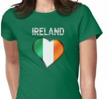 Ireland - Irish Flag Heart & Text - Metallic Womens Fitted T-Shirt