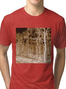 Fire scarred landscape at night Tri-blend T-Shirt
