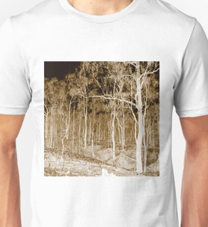 Fire scarred landscape at night Unisex T-Shirt