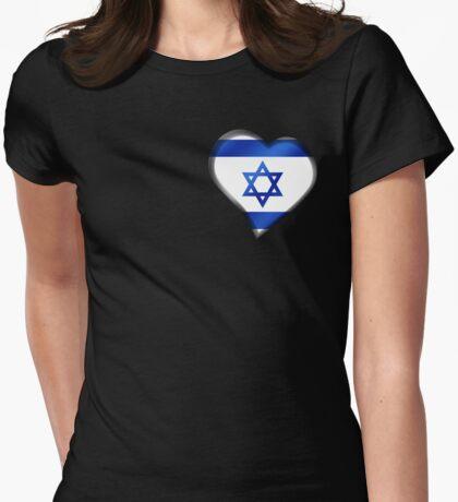Israeli Flag - Israel - Heart Womens Fitted T-Shirt