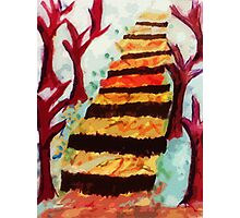 stairway thru the woods, watercolor Photographic Print