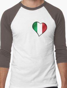 Italian Flag - Italy - Heart Men's Baseball ¾ T-Shirt