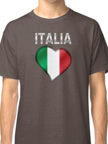Italia - Italian Flag Heart & Text - Metallic Classic T-Shirt