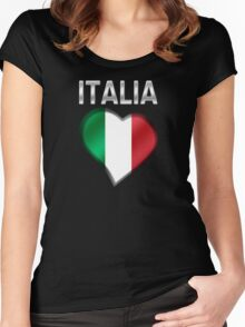 Italia - Italian Flag Heart & Text - Metallic Women's Fitted Scoop T-Shirt