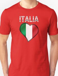 Italia - Italian Flag Heart & Text - Metallic T-Shirt