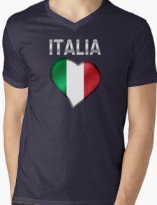 Italia - Italian Flag Heart & Text - Metallic Mens V-Neck T-Shirt