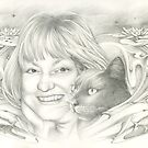 Portrait of Christine with Black Cat by Johanna Pieterman