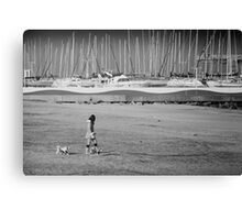 Girl & Dogs Canvas Print