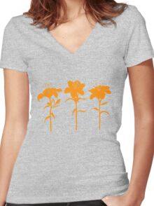 Orange Lilies T-shirt Women's Fitted V-Neck T-Shirt