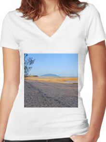 Beach at low tide Women's Fitted V-Neck T-Shirt