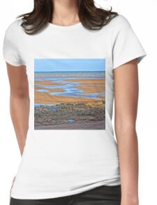 Rocks on beach at low tide Womens Fitted T-Shirt