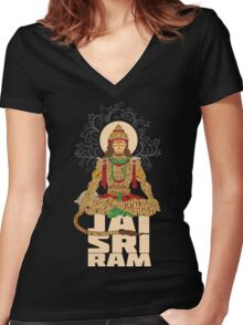 Hanuman Sankat Mochan Women's Fitted V-Neck T-Shirt