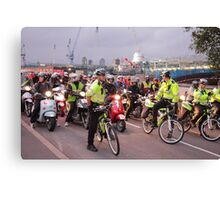 London Traffic Police Cyclists Canvas Print
