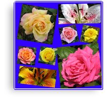 Roses and Lilies Collage Canvas Print