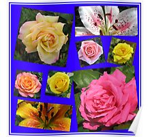 Roses and Lilies Collage Poster