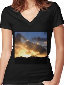 Sunrays peak through the clouds Women's Fitted V-Neck T-Shirt