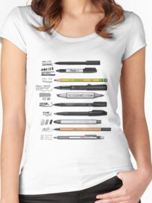 Pen Collection For Sketching And Drawing Women's Fitted Scoop T-Shirt