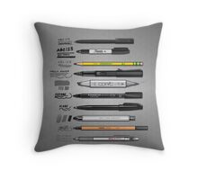 Pen Collection For Sketching And Drawing Throw Pillow