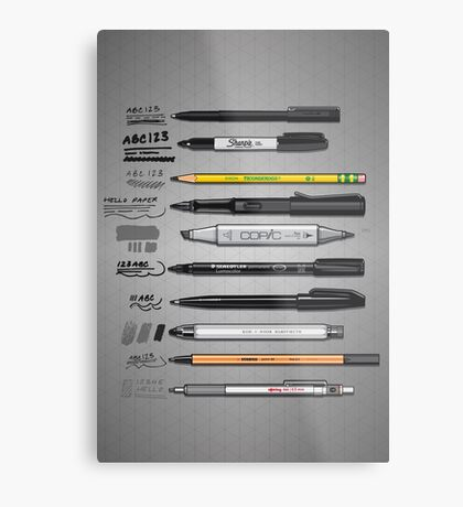 Pen Collection For Sketching And Drawing Metal Print