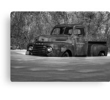 Winter Truck in Black and White Canvas Print