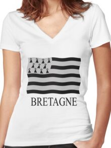 Brittany flag Women's Fitted V-Neck T-Shirt