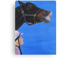 Funny Face - Horse making funny face Canvas Print