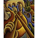 Soft fiddle player with boatman by Alan Kenny