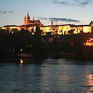 Prague castle at night by Ilan Cohen