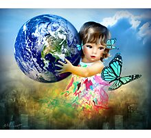 Little Girl saving the world Photographic Print