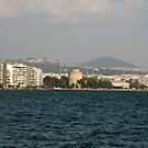Thessaloniki bay and the White tower with the mountain behind it, Greece by Ilan Cohen