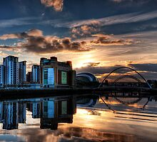 Sunset over the Tyne by Philip  Whittaker