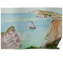 Freshwater Bay IOW, by John Rees Poster
