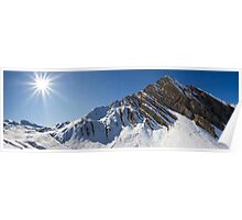 Alpine peak and sun Poster