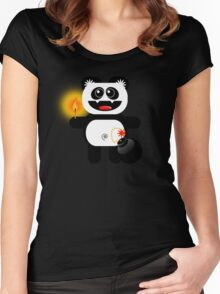 PANDA 4  (Cute pet has a bomb and its alight!) Women's Fitted Scoop T-Shirt