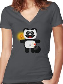 PANDA 4  (Cute pet has a bomb and its alight!) Women's Fitted V-Neck T-Shirt