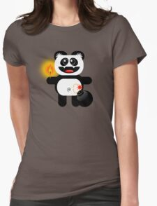 PANDA 4  (Cute pet has a bomb and its alight!) Womens Fitted T-Shirt
