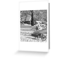 Winter Wheelbarrow B&W Greeting Card