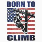 american power lineman electrician repairman pole retro by patrimonio