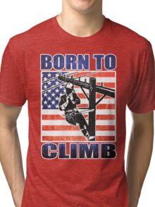 american power lineman electrician repairman pole retro Tri-blend T-Shirt