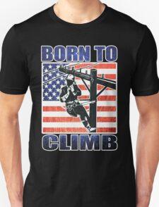 american power lineman electrician repairman pole retro T-Shirt
