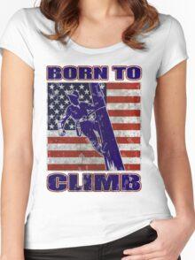 american power lineman electrician repairman pole retro Women's Fitted Scoop T-Shirt