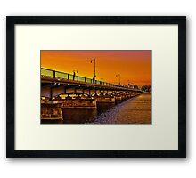 Sunset over Harvard Bridge Framed Print