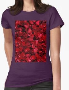 Red Rose Petals Womens Fitted T-Shirt