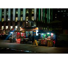 Two Hot Dog Stands And A Burger & Fries Stand in Front of City Hall Photographic Print